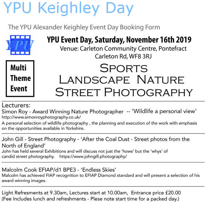 Yorkshire Photographic Union Keighley Day 2019
