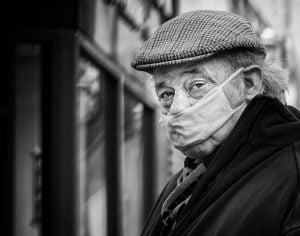 Wearing PPE mask during lockdown